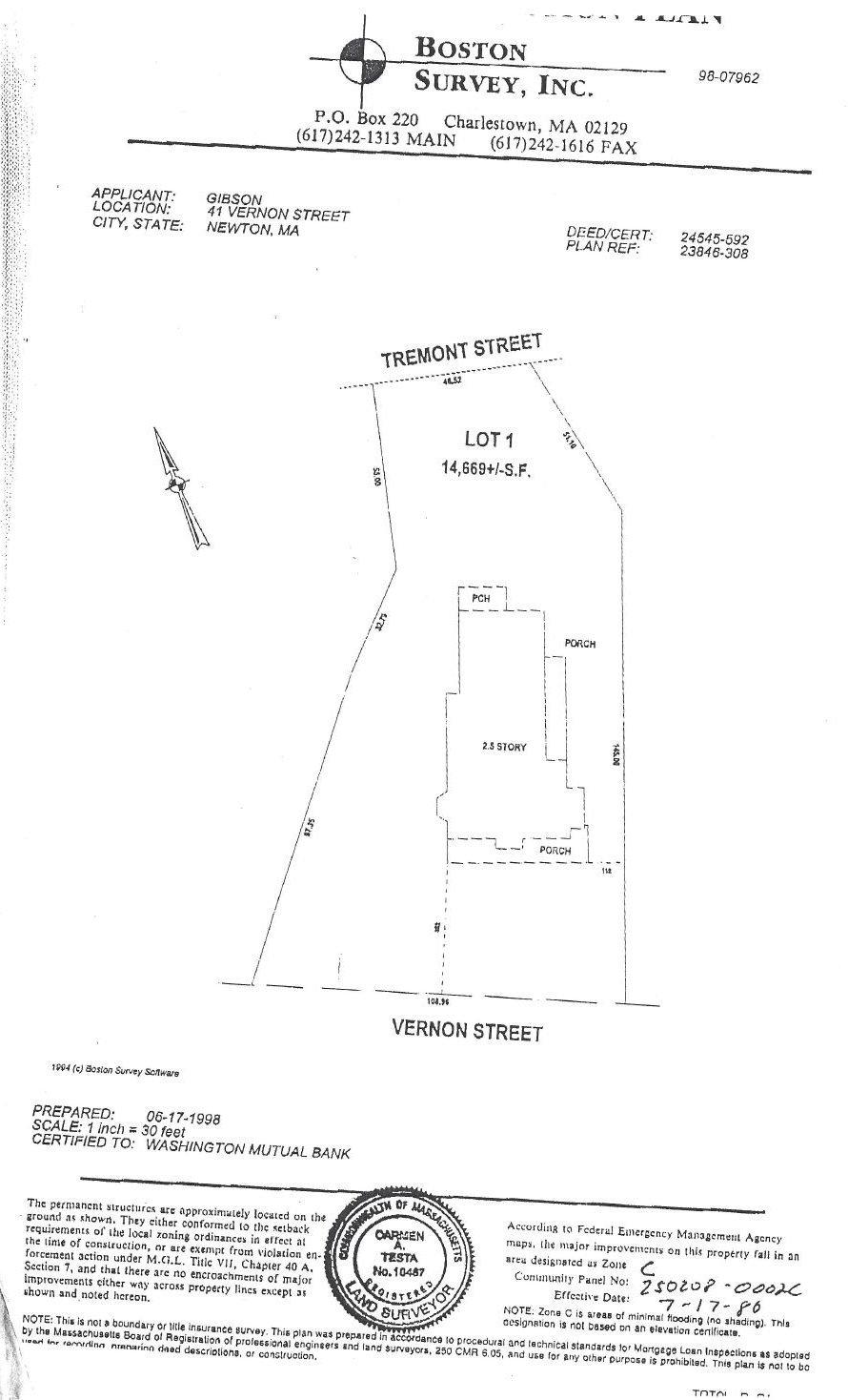 41 Vernon Street Plot Plans